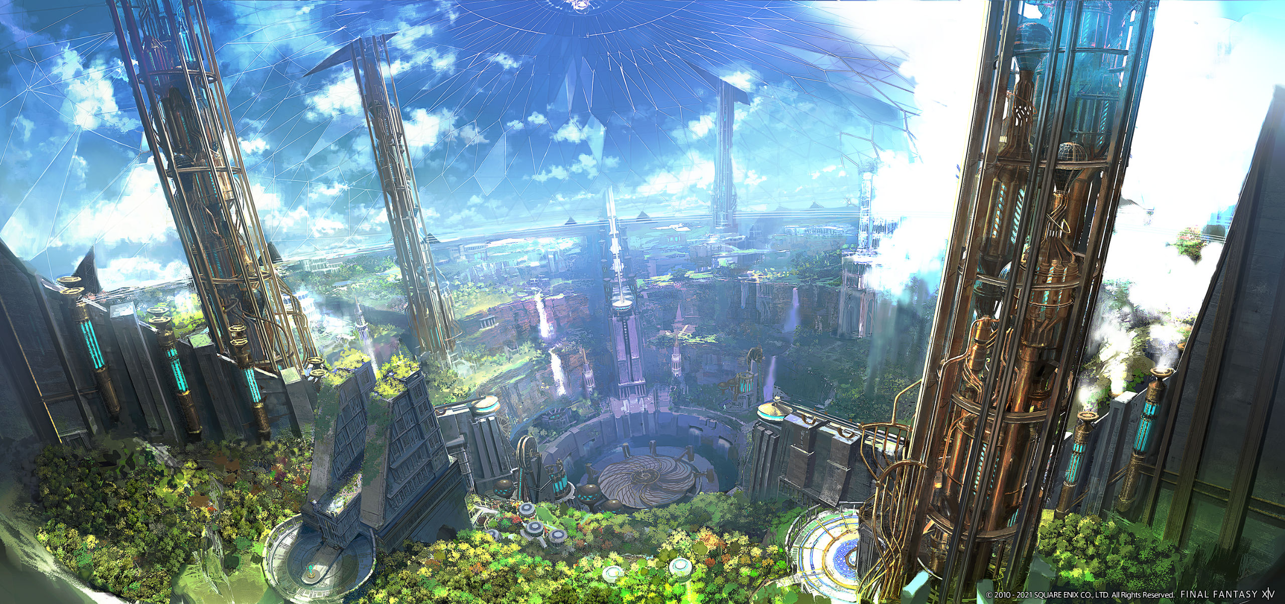 Final Fantasy XIV: Endwalker artwork of an ancient city surrounded by lush greenery and an artificial sky dome.
