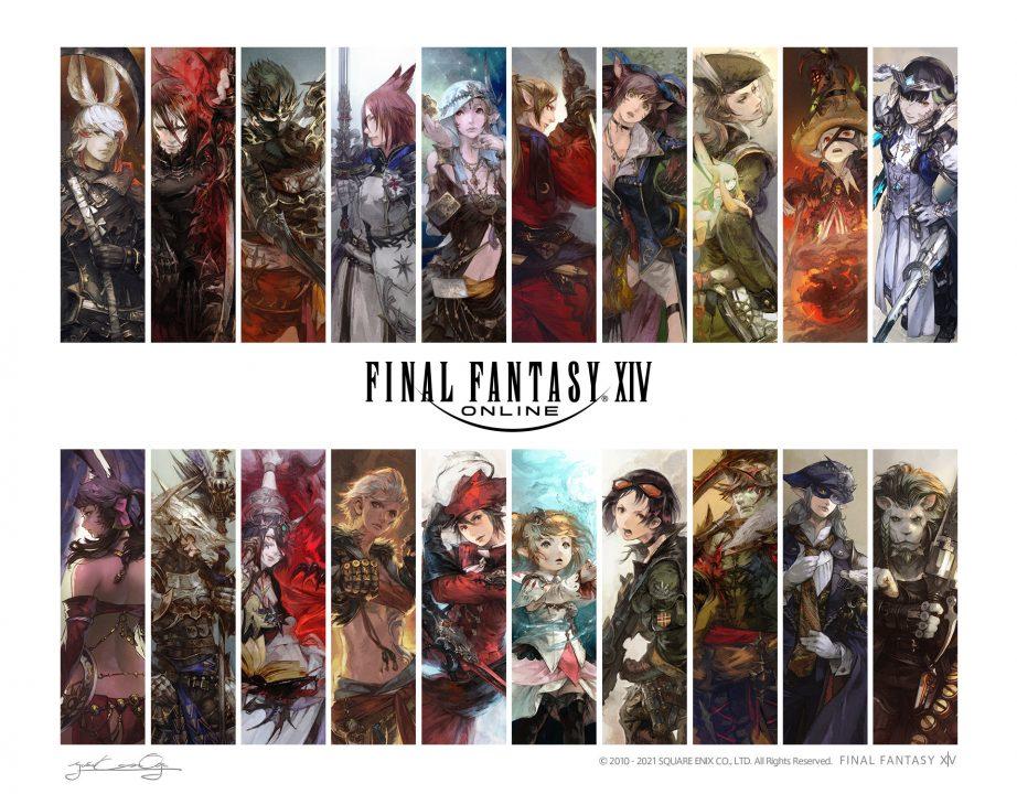 Final Fantasy XIV: Endwalker Artwork by Yosuke Mogi showing all of the game's main jobs.