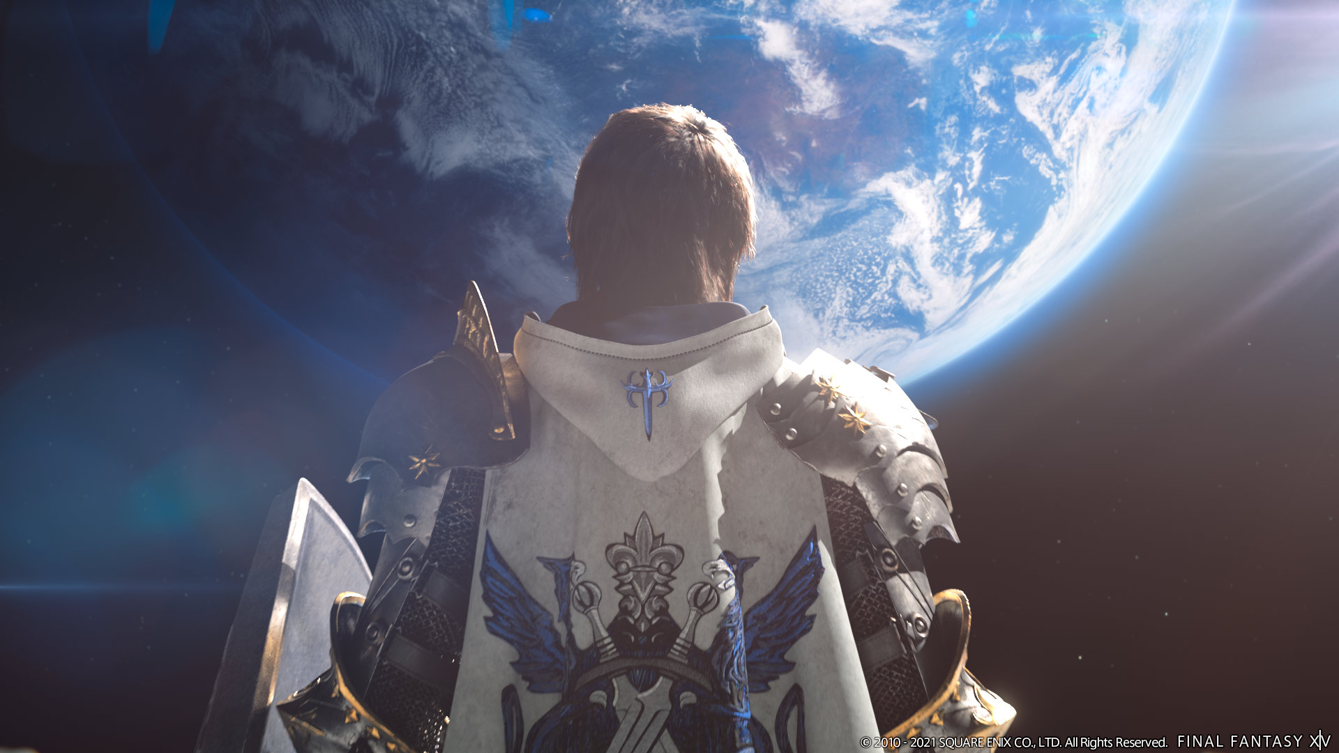 Final Fantasy XIV: Endwalker Screenshot showcasing a paladin standing on the surface of the moon looking at his home planet.
