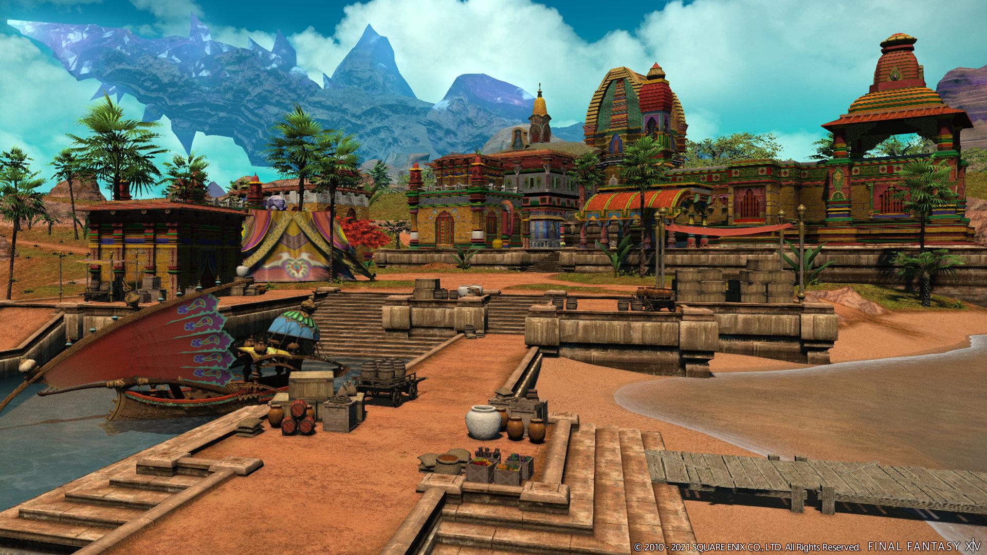 Final Fantasy XIV screenshot of a colorful coastal city of stone and brick.