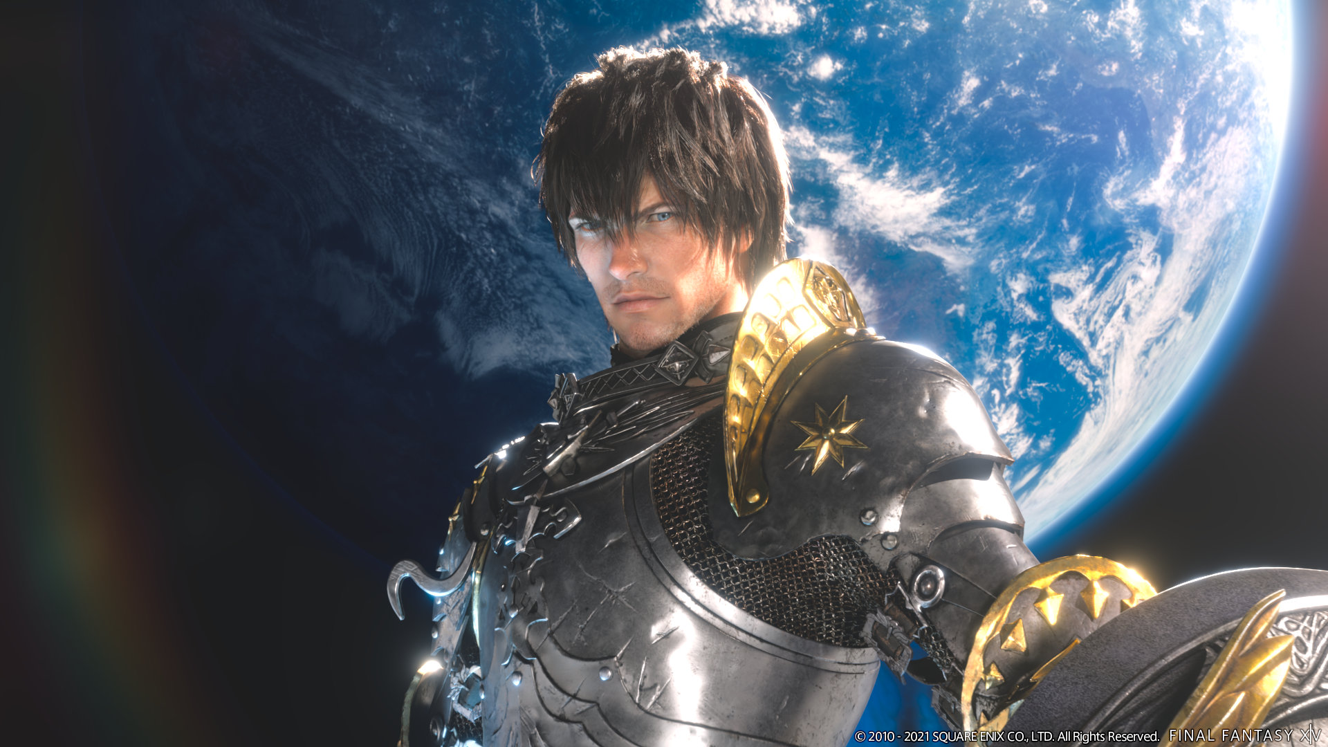 Final Fantasy XIV: Endwalker artwork of a male paladin in gleaming silver and gold armor, face set in determination, with a blue planet behind him.