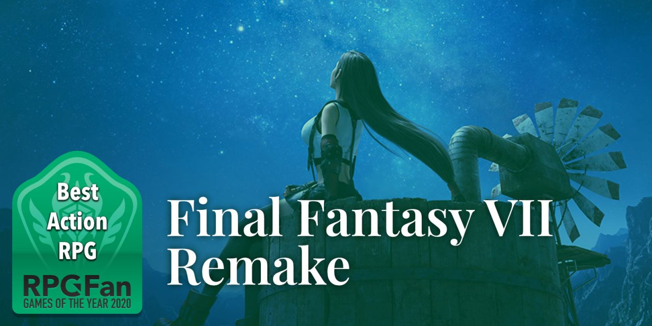 RPGFan Best Action RPG 2020 banner featuring Tifa sitting at the well in Nibelheim.