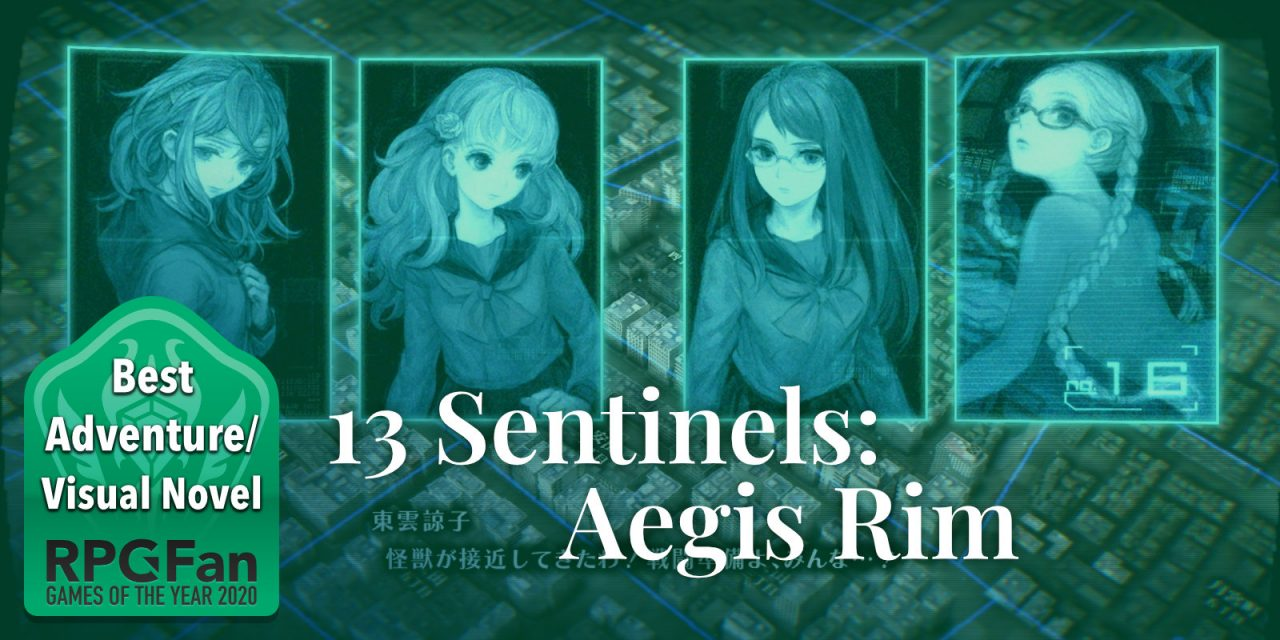 RPGFan Best Adventure/Visual Novel 2020 Banner featuring portraits of four 13 Sentinels: Aegis Rim cast members.