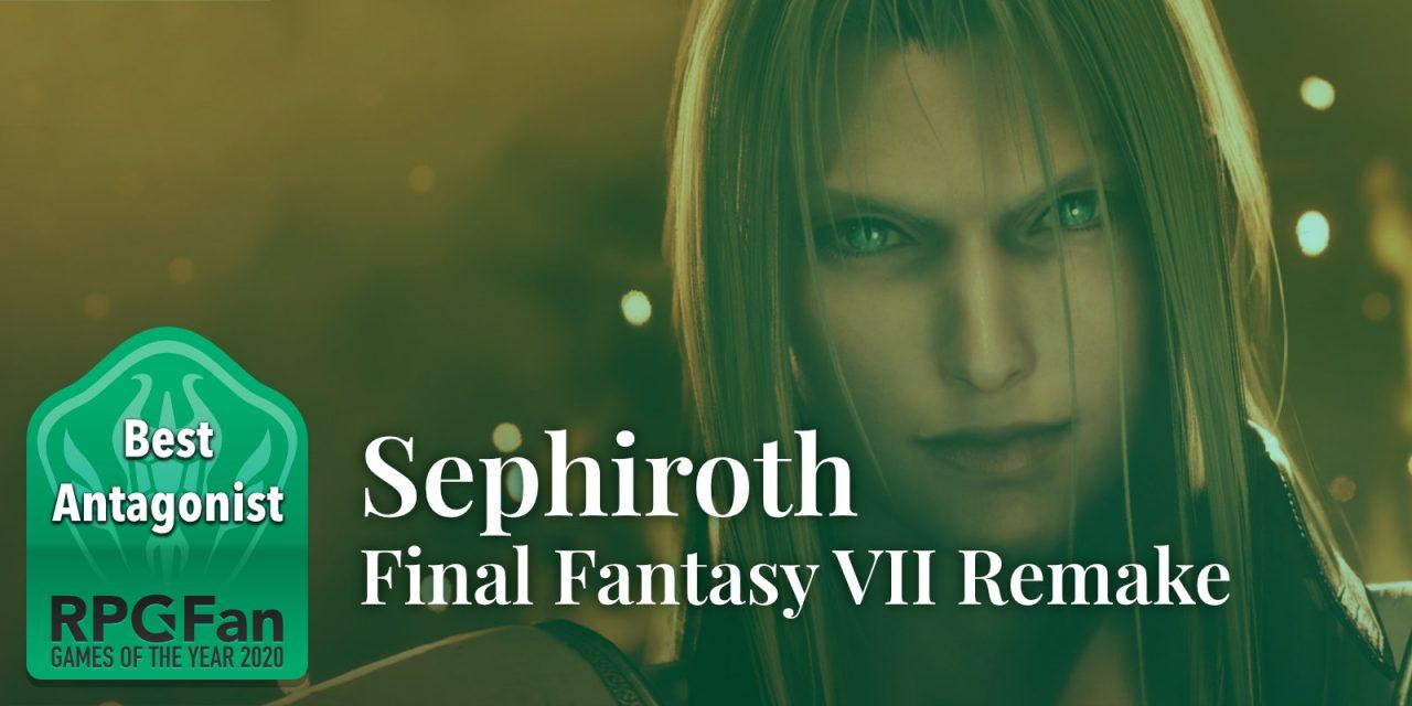 RPGFan Best Antagonist 2020 Banner featuring Sephiroth smirking.
