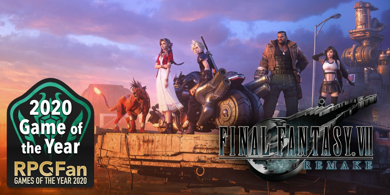 RPGFan Game of the Year 2020 Banner featuring the cast of Final Fantasy VII Remake.