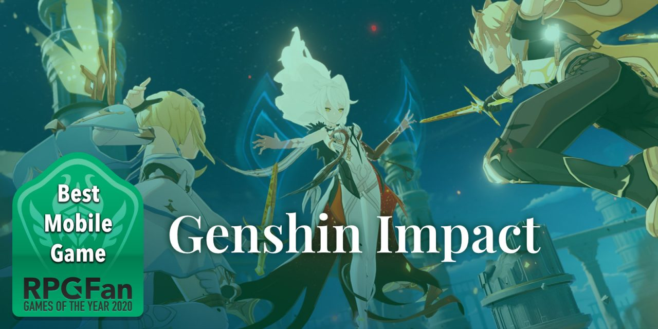 RPGFan Best Mobile Game 2020 Banner featuring a party in Genshin Impact confronting a white-haired person.
