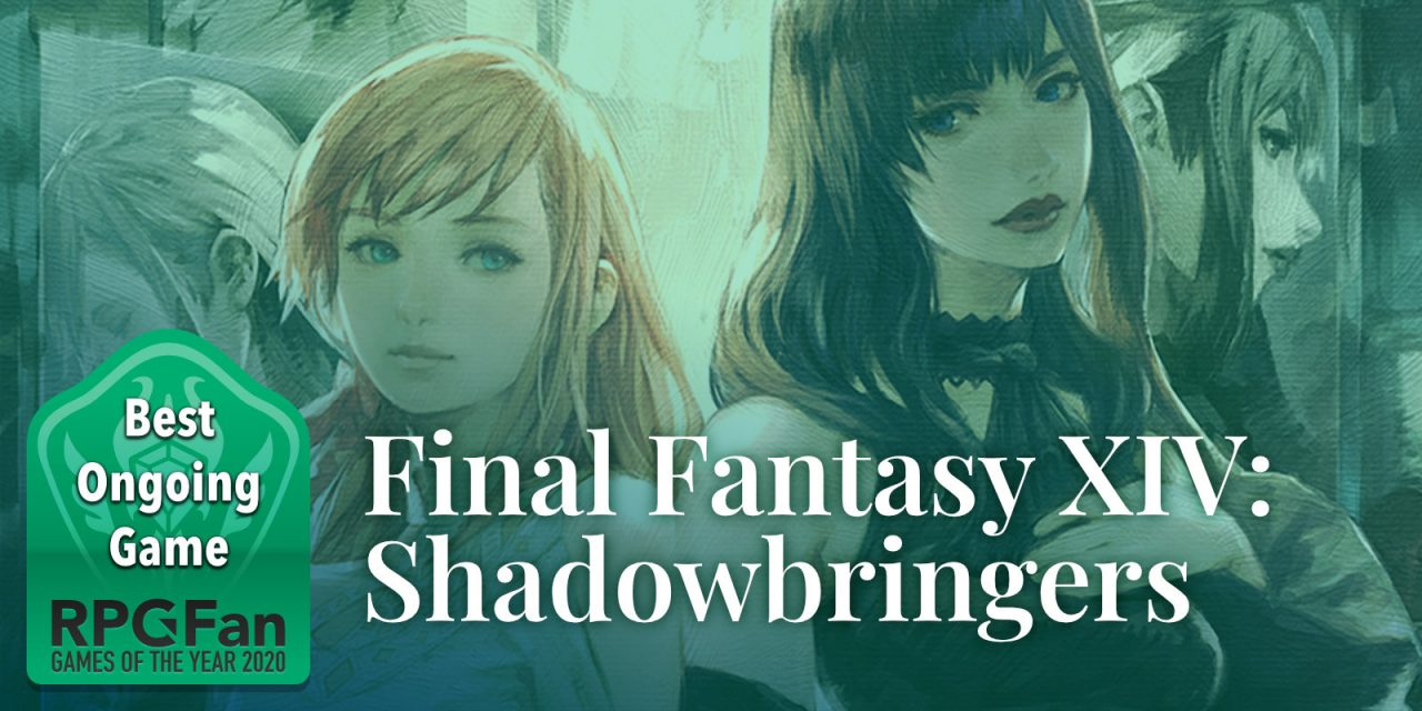 RPGFan Best Ongoing Game 2020 Banner featuring the artwork from the Futures Rewritten patch of Final Fantasy XIV, with the two central female characters front and center.