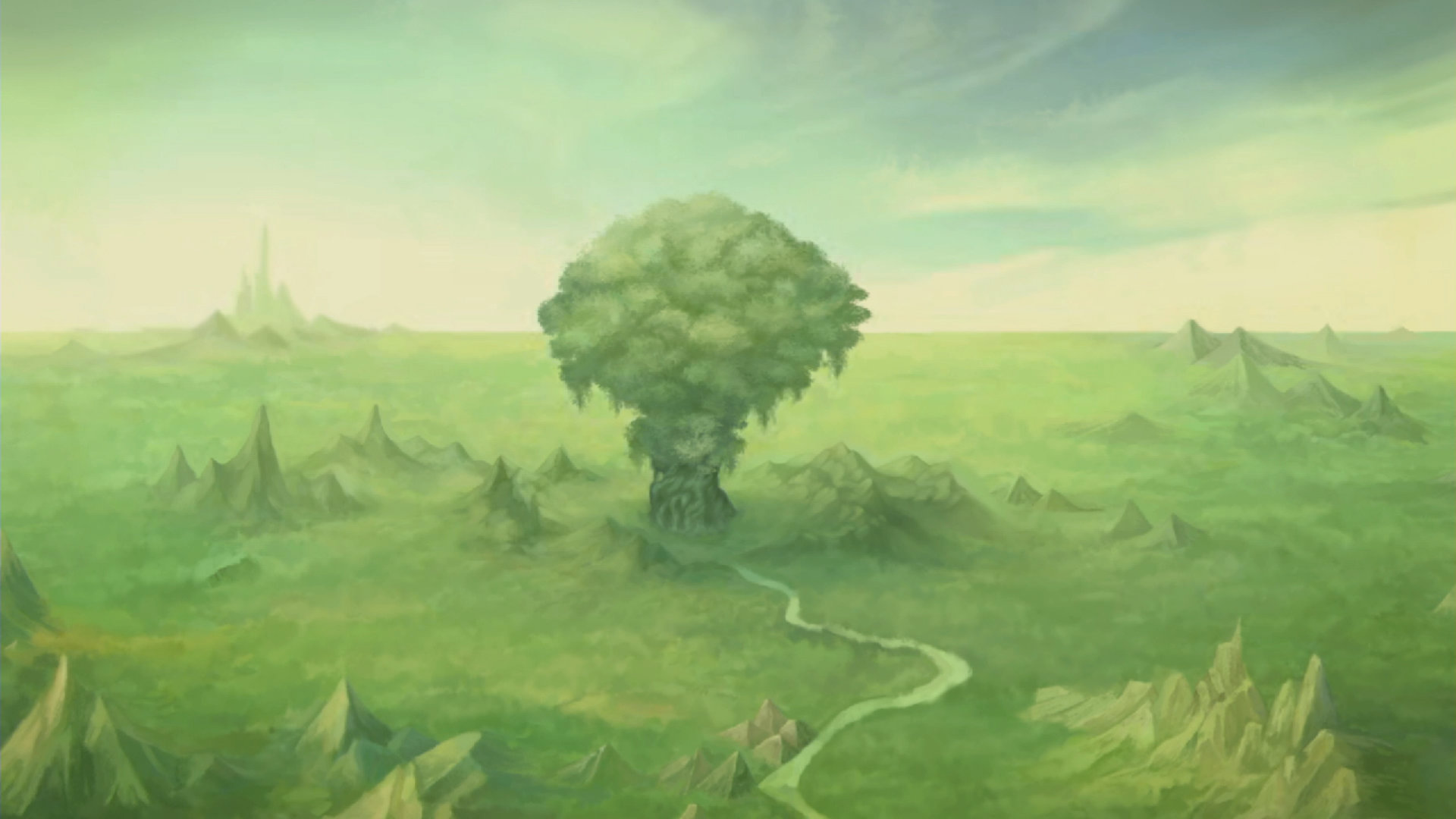 The Mana Tree stands out in the forest crater.