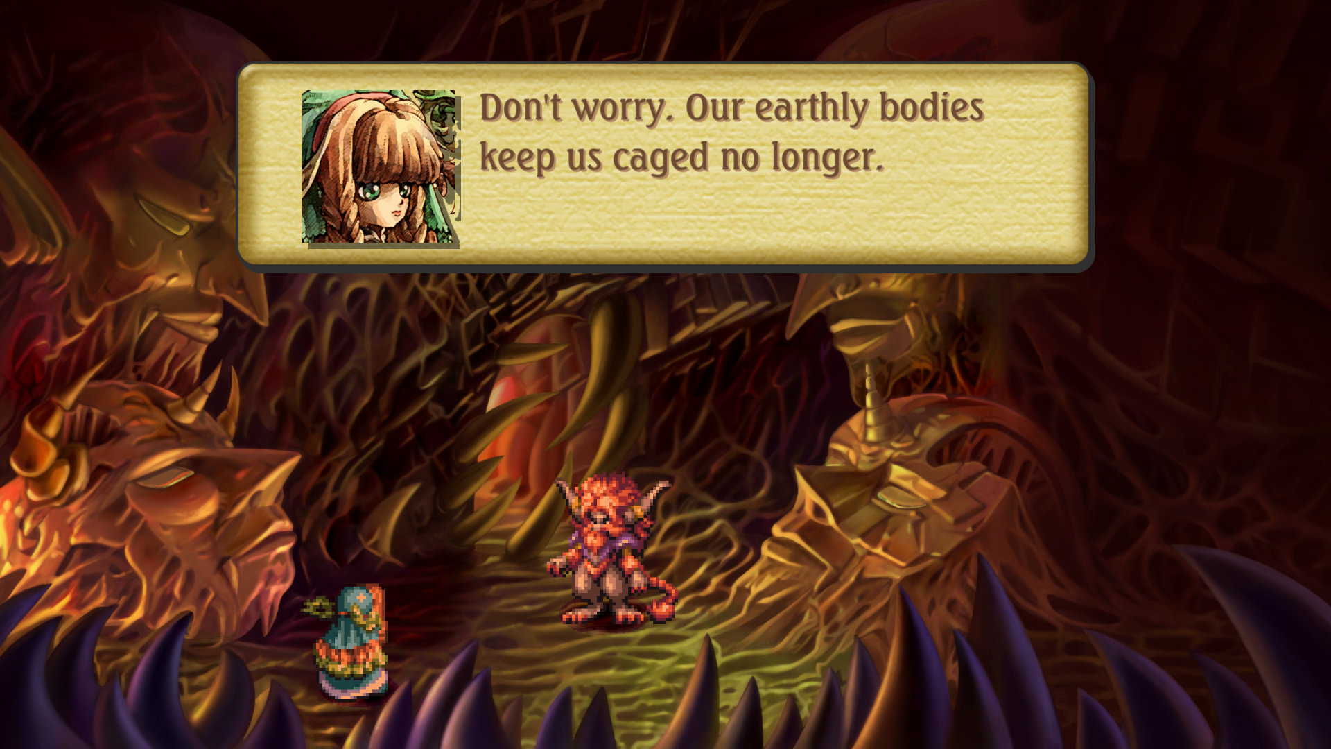 You needn't worry, because their earthly bodies keep them caged no longer in Legend of Mana. Two characters stand in the middle of a cave.