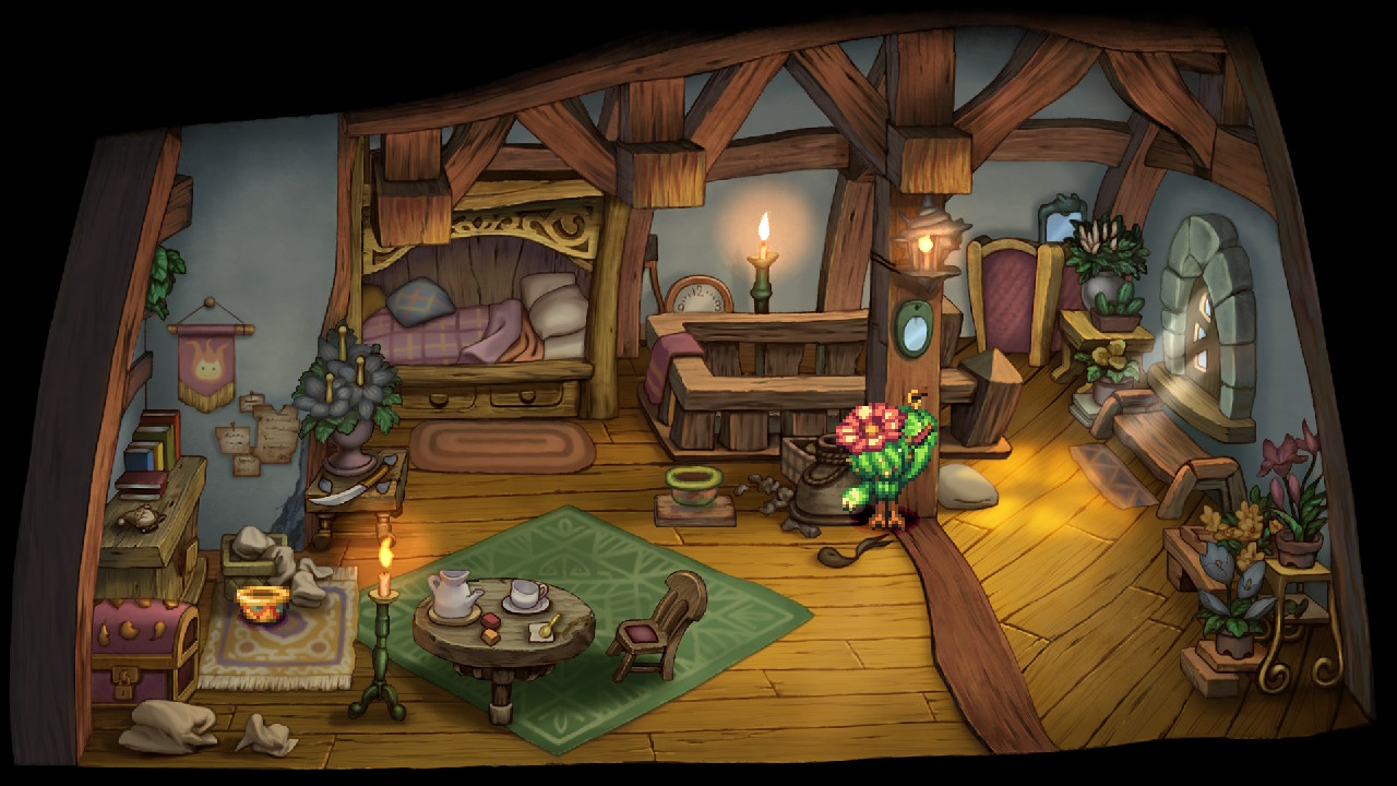 A cactus writes in a diary in a cozy upper-floor bedroom in Legend of Mana.