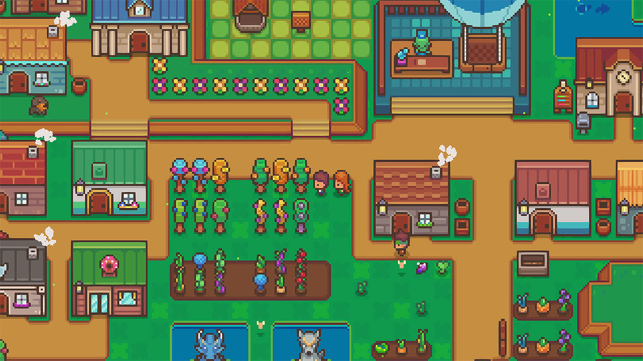 Cute pixel characters explore a colorful down and fantasy-styled trees and crops in this Littlewood screenshot.