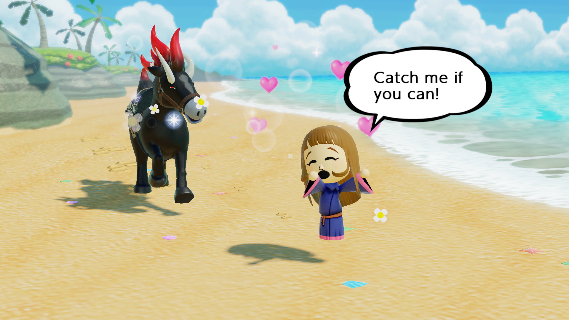 Miitopia screenshot of a girl in a kimono running from a black horse on a beach with hearts swirling around her head.