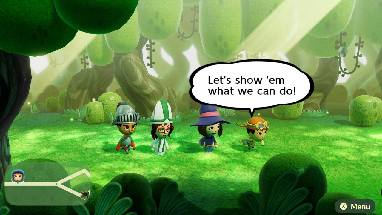"""Four Mii avatars walking across a lush green forest landscape in Miitopia. There is a knight, a cleric, a mage, and a thief. The thief is showing """"Let's show 'em what we can do!"""" and the text appears in a white speech bubble."""