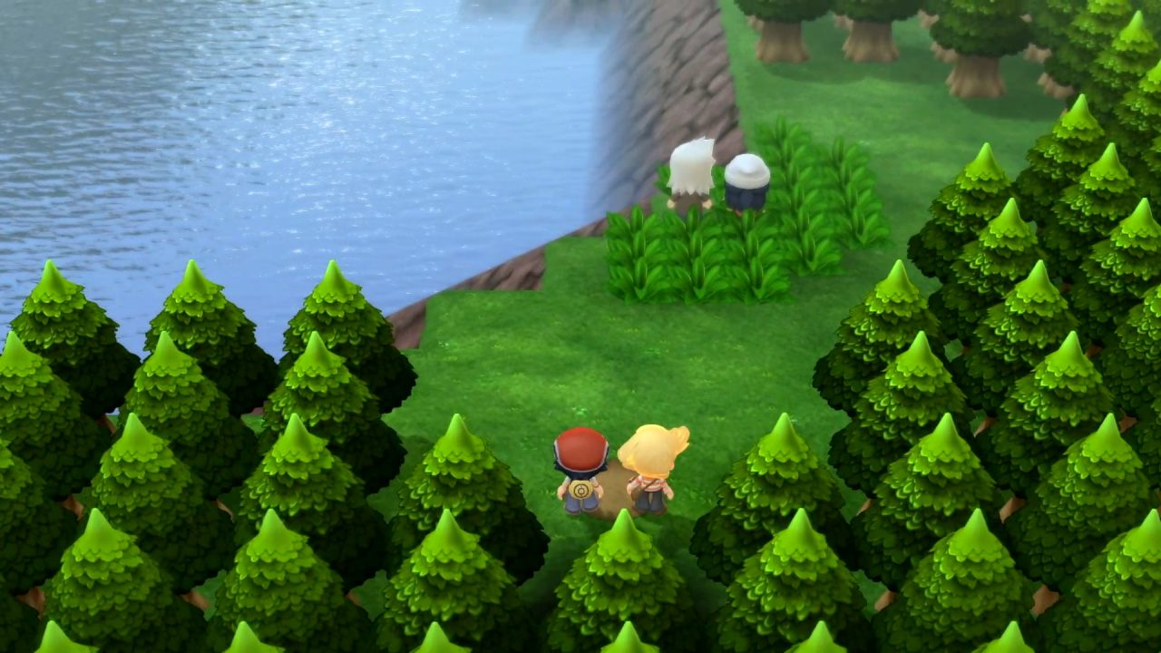 Pokémon Brilliant Diamond & Shining Pearl Screenshot in the forest by a lake.