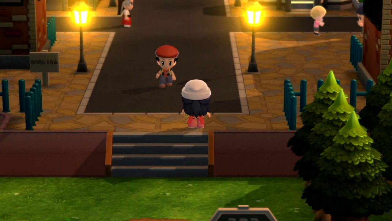 The protagonist and her friend meet at the edge of a city in Pokemon Brilliant Diamond & Shining Pearl.