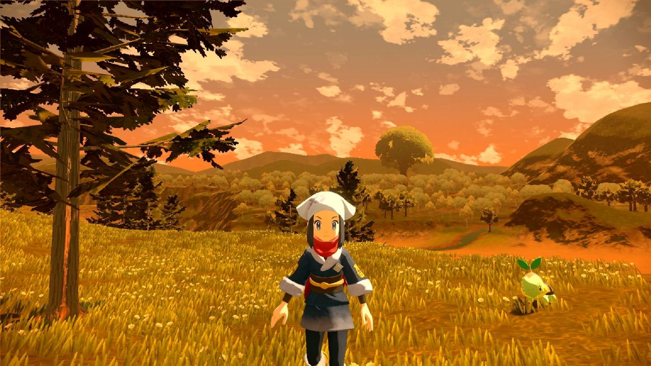 The player character walks toward the camera in Pokémon Legends: Arceus.