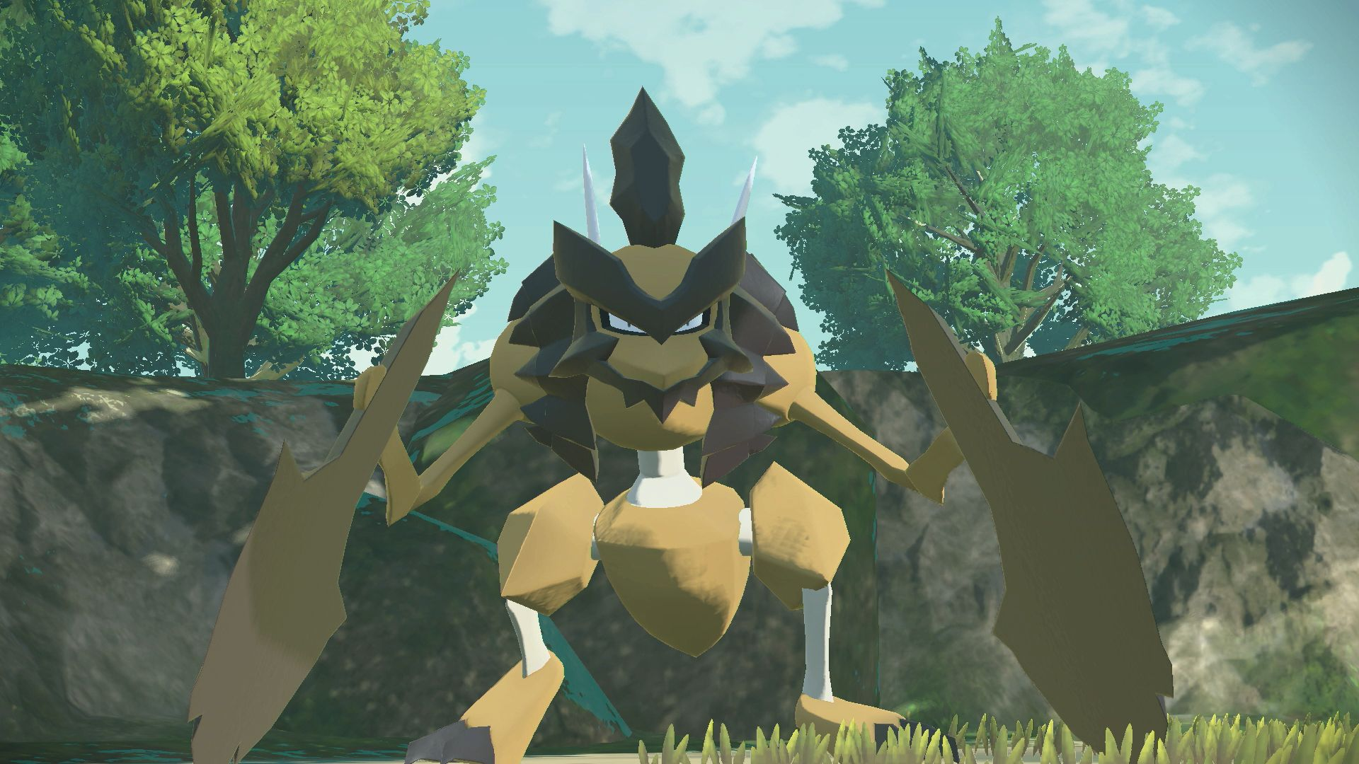 Pokémon Legends: Arceus screenshot of the rock type Kleavor, a bipedal rocky preying mantis-like creature in a forest.