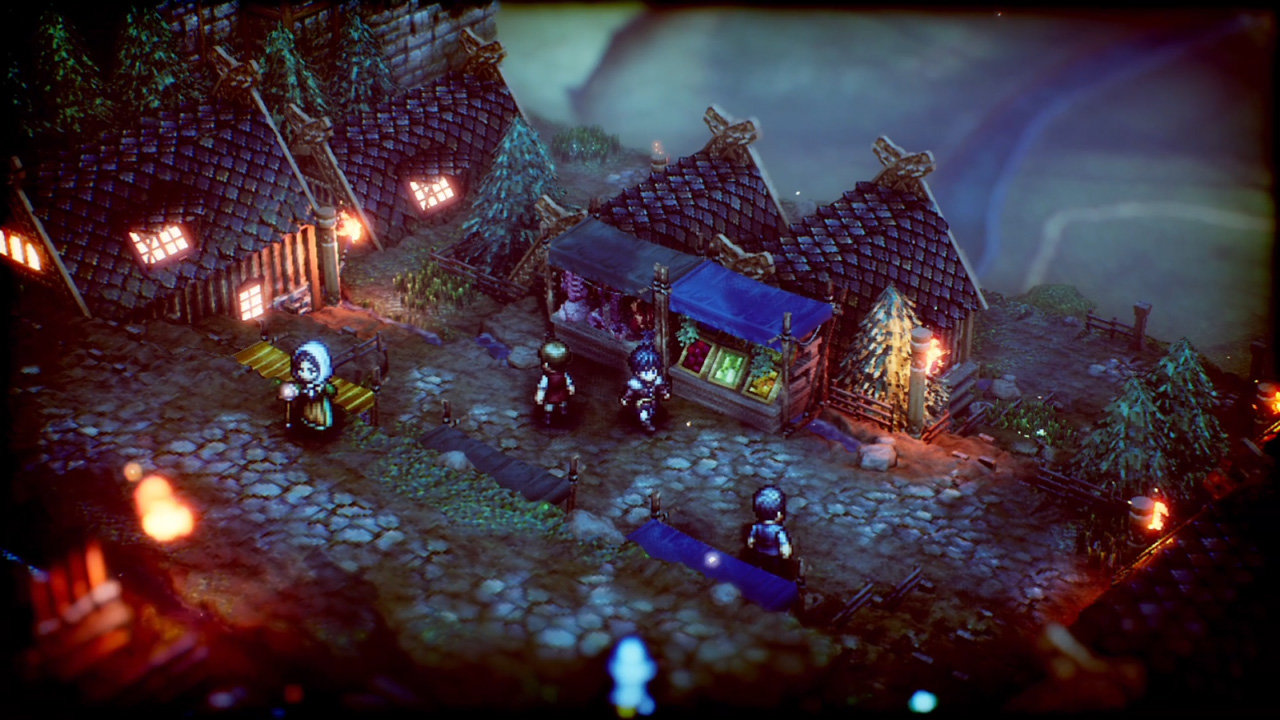 A town at nighttime in Project Triangle Strategy.