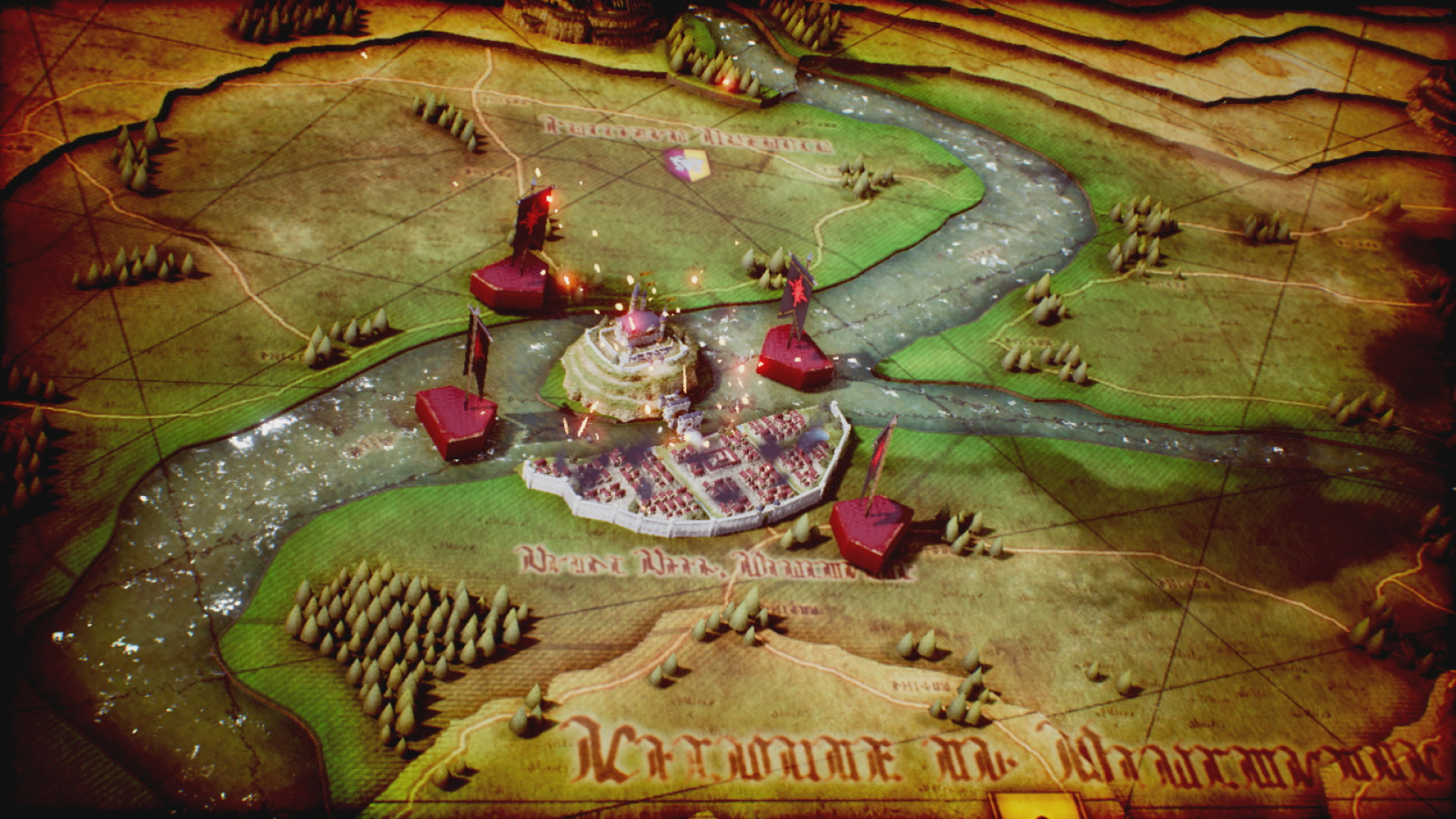A map screen with a large walled city.