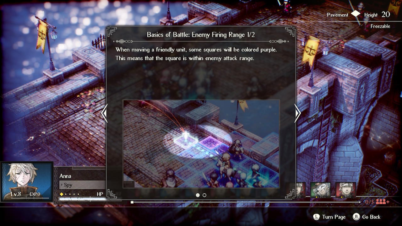 """Battle menu with tutorial overlay reading """"When moving a friendly unit, some squares will be colored purple. This means the square is within enemy attack range."""""""
