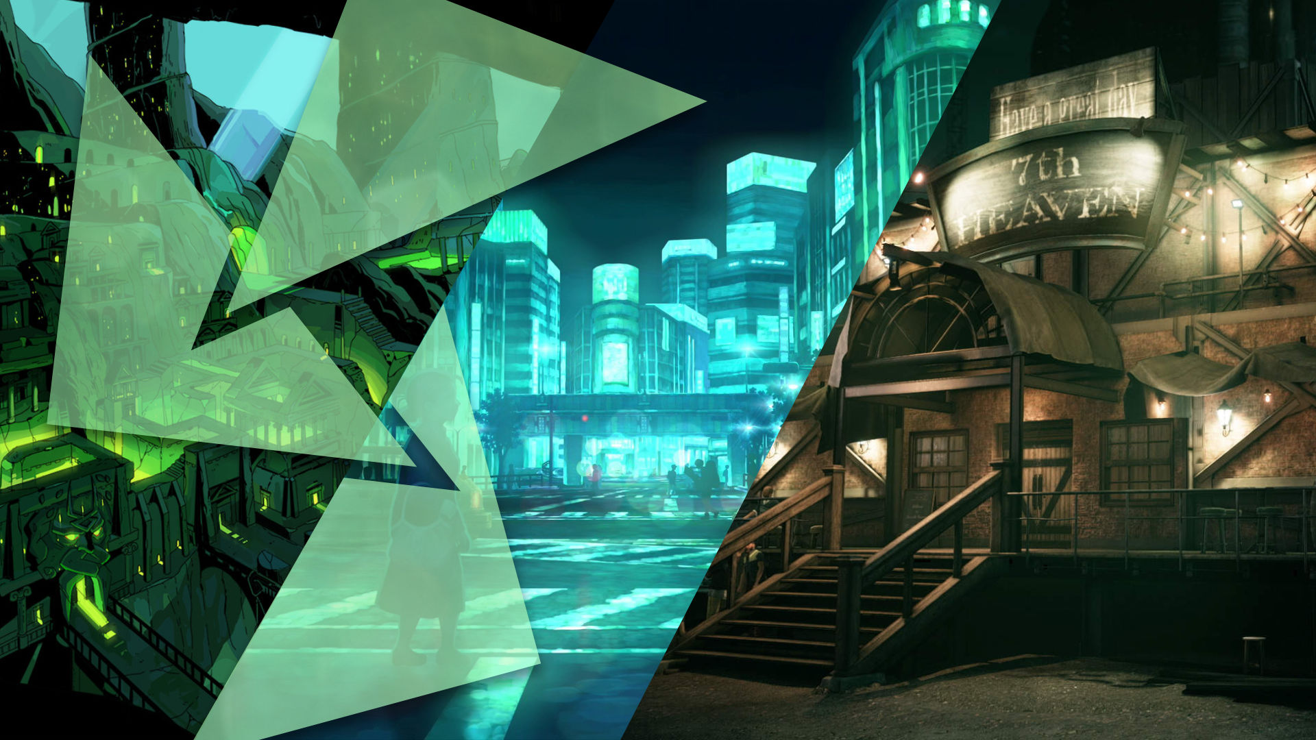 3 different pieces of city art from 3 different video games, all in green hues.