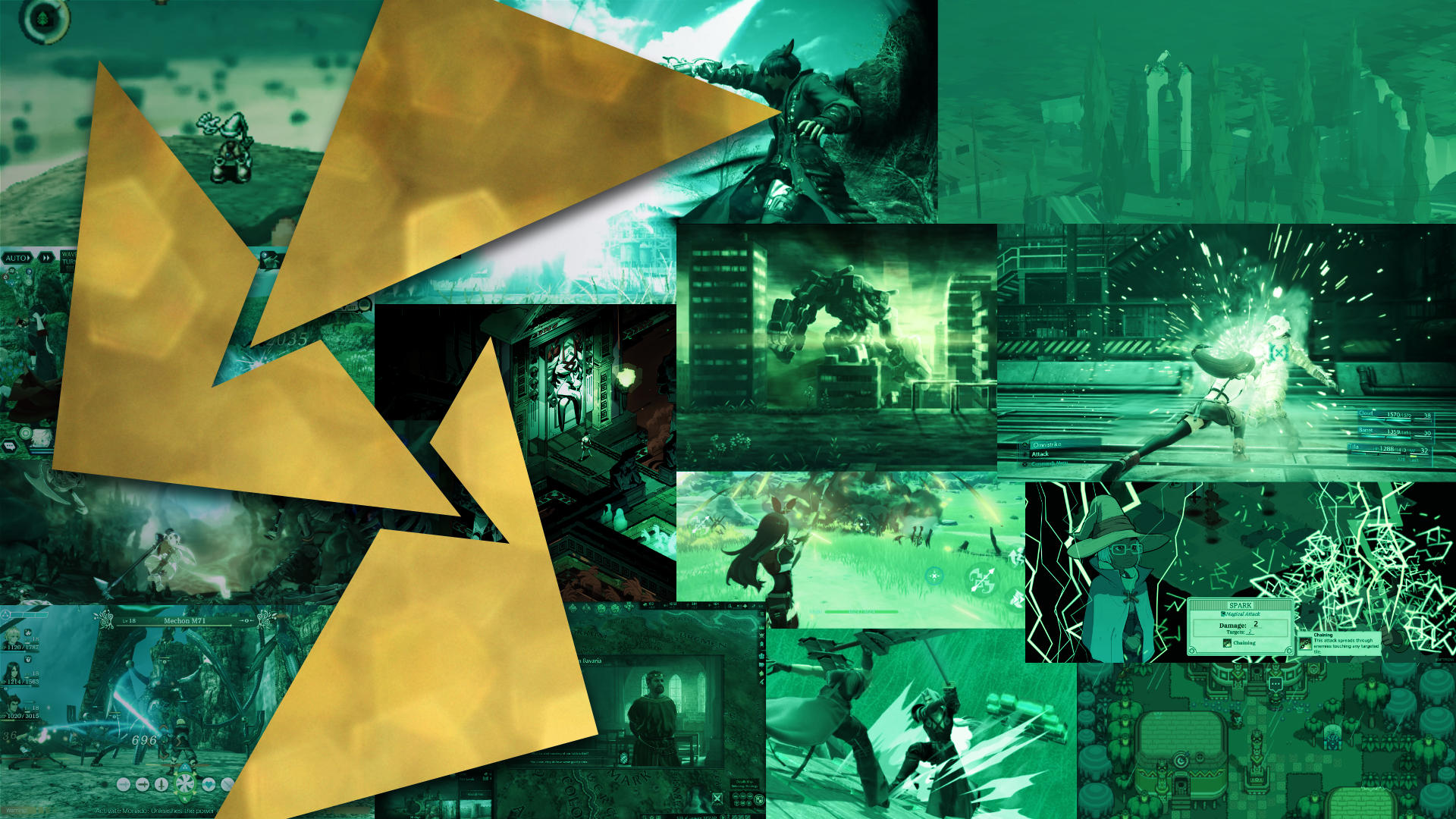 A collage of RPG video game screenshots in a green hue.