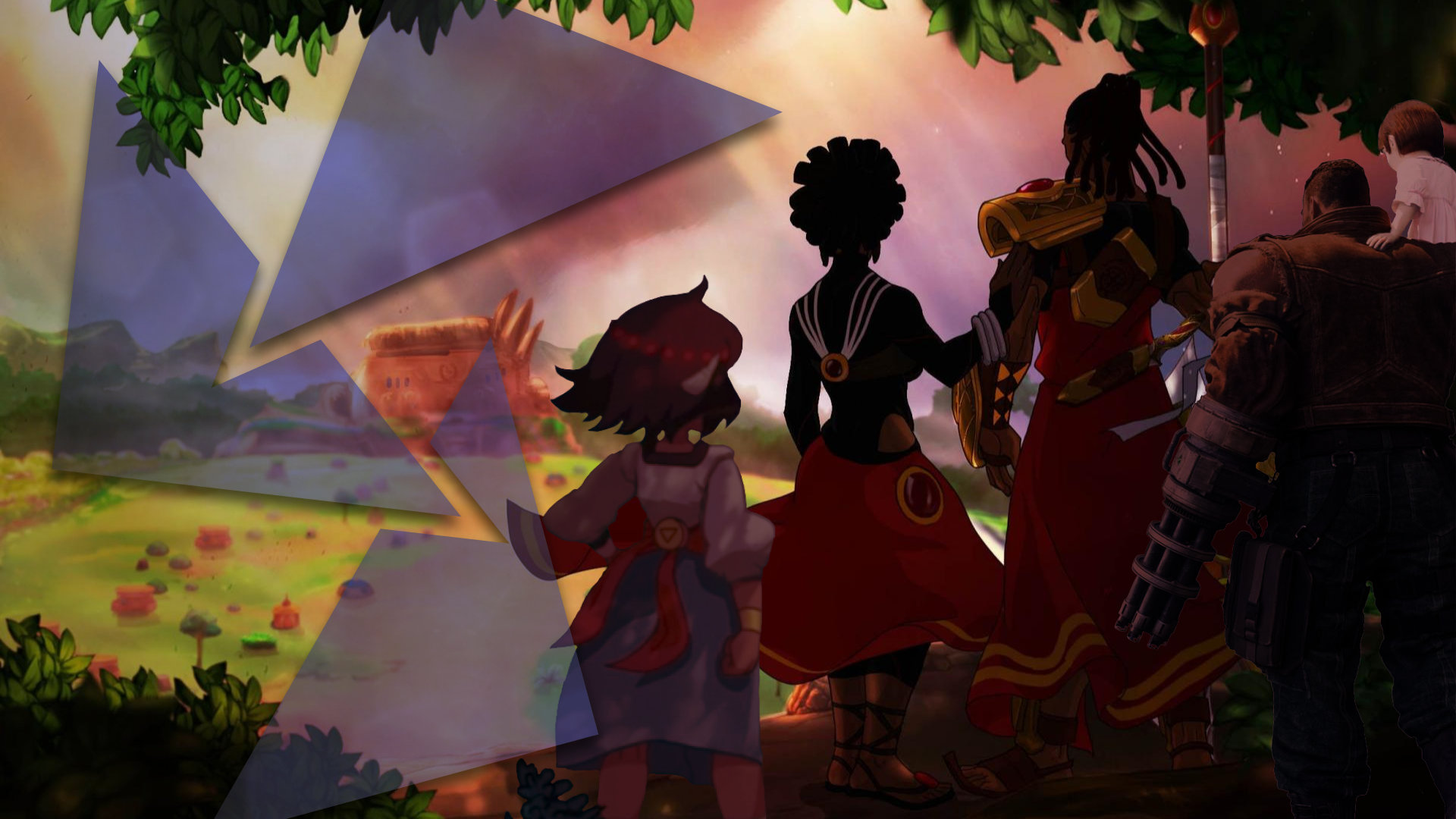 Video game art from Aurion: Legacy of the Kori-Odan depicts two African heroes looking on their village. A character from the game Indivisible and two characters from Final Fantasy VII Remake are also imposed into the sunset image.
