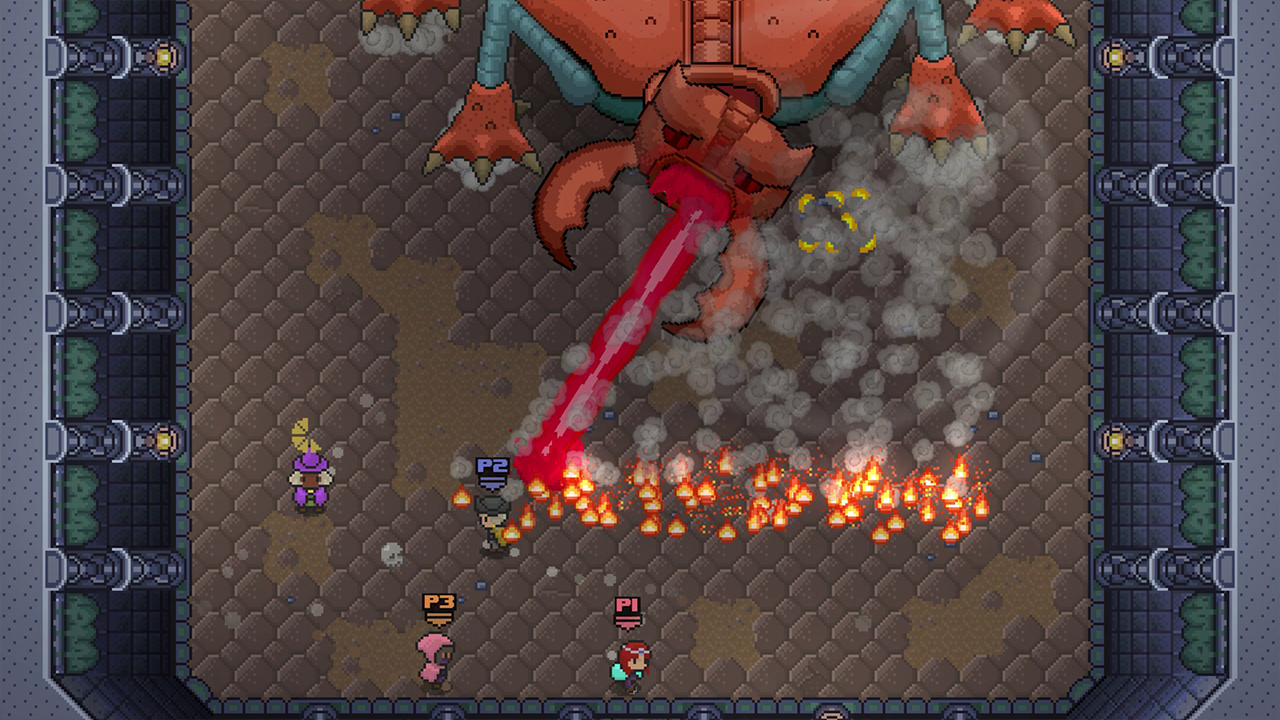 A giant stag beetle monster breathes fire on the party in Rogue Heroes: Ruins of Tasos.