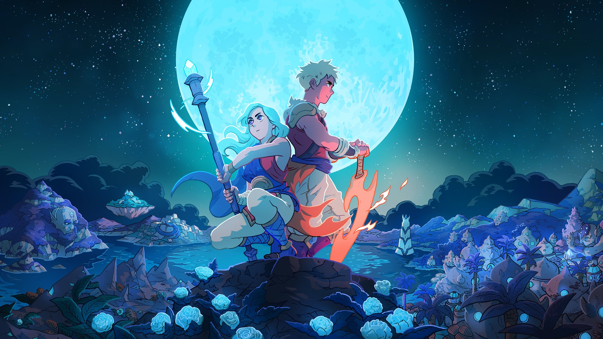 Key Art From Sea of Stars Showing Protagonists Sitting Beneath The Moon