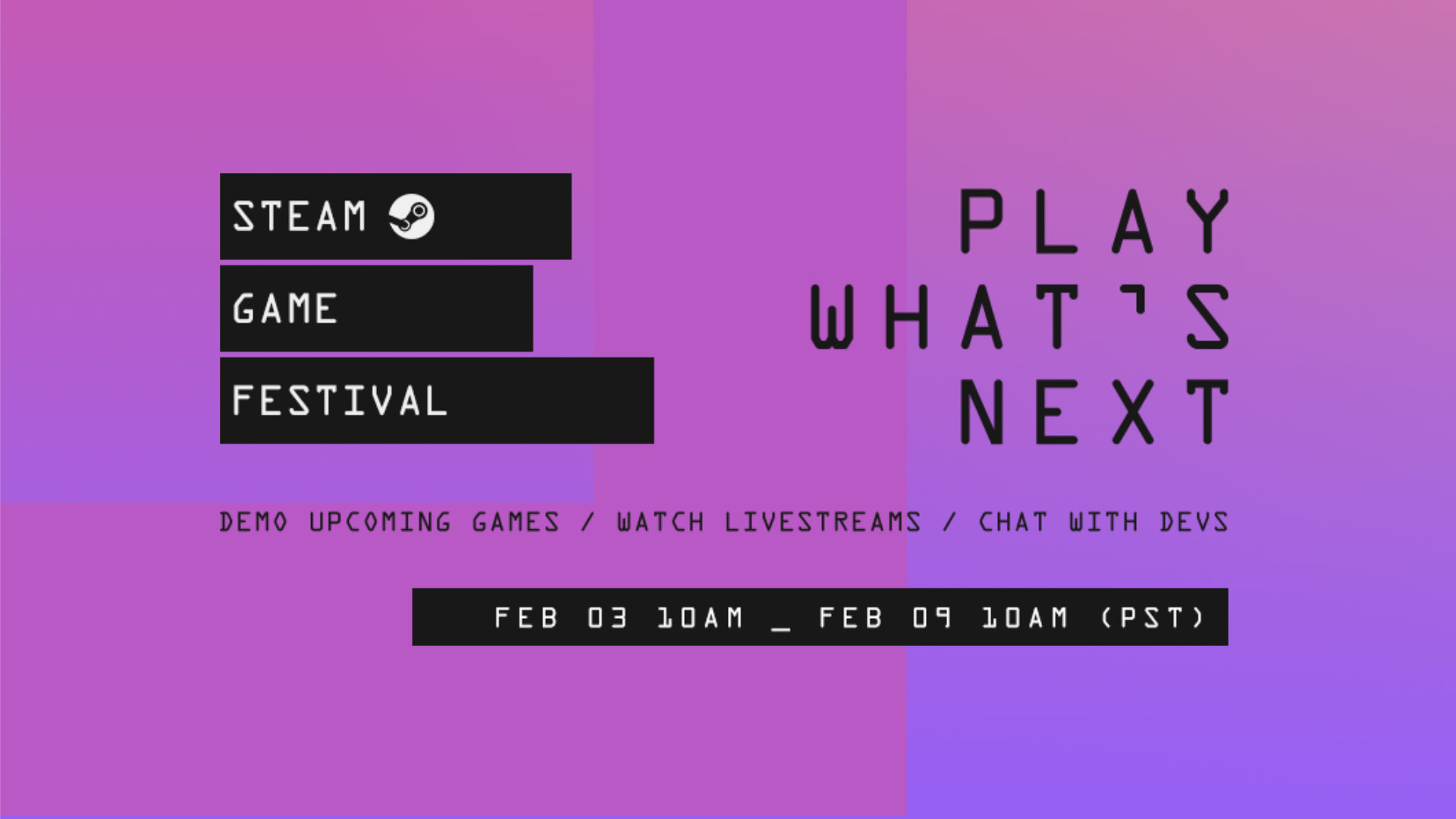 Steam Game Festival Graphic for February 2021