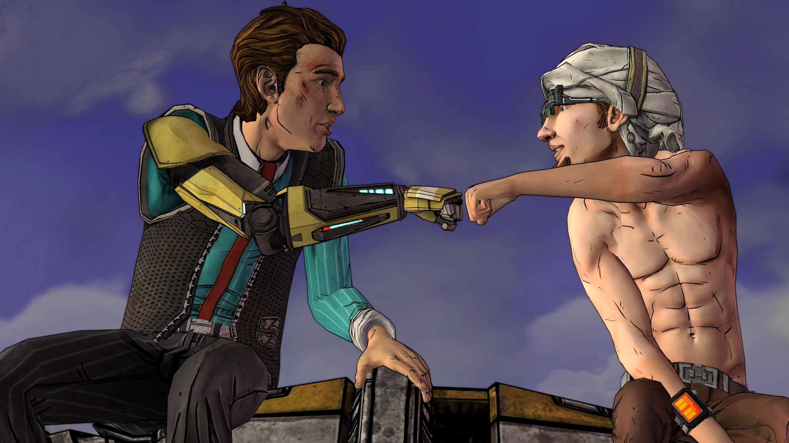 Tales from the Borderlands Screenshot of characters giving each other a fistbump.