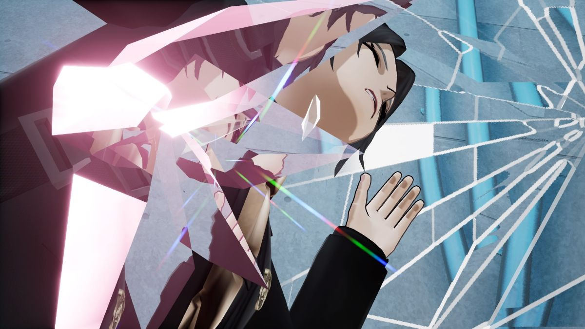The Caligula Effect 2 Screenshot of a person reflected in shards of broken glass.