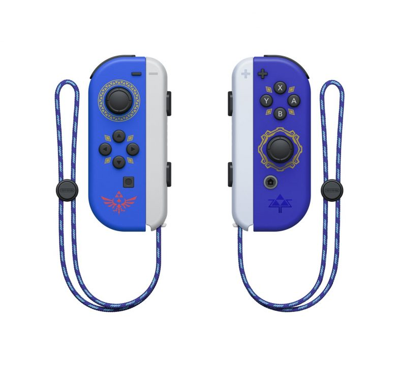 The Legend of Zelda: Skyward Sword edition Joy-Con for Nintendo Switch, featuring designs inspired by the famous Hylian Shield and the Master Sword.