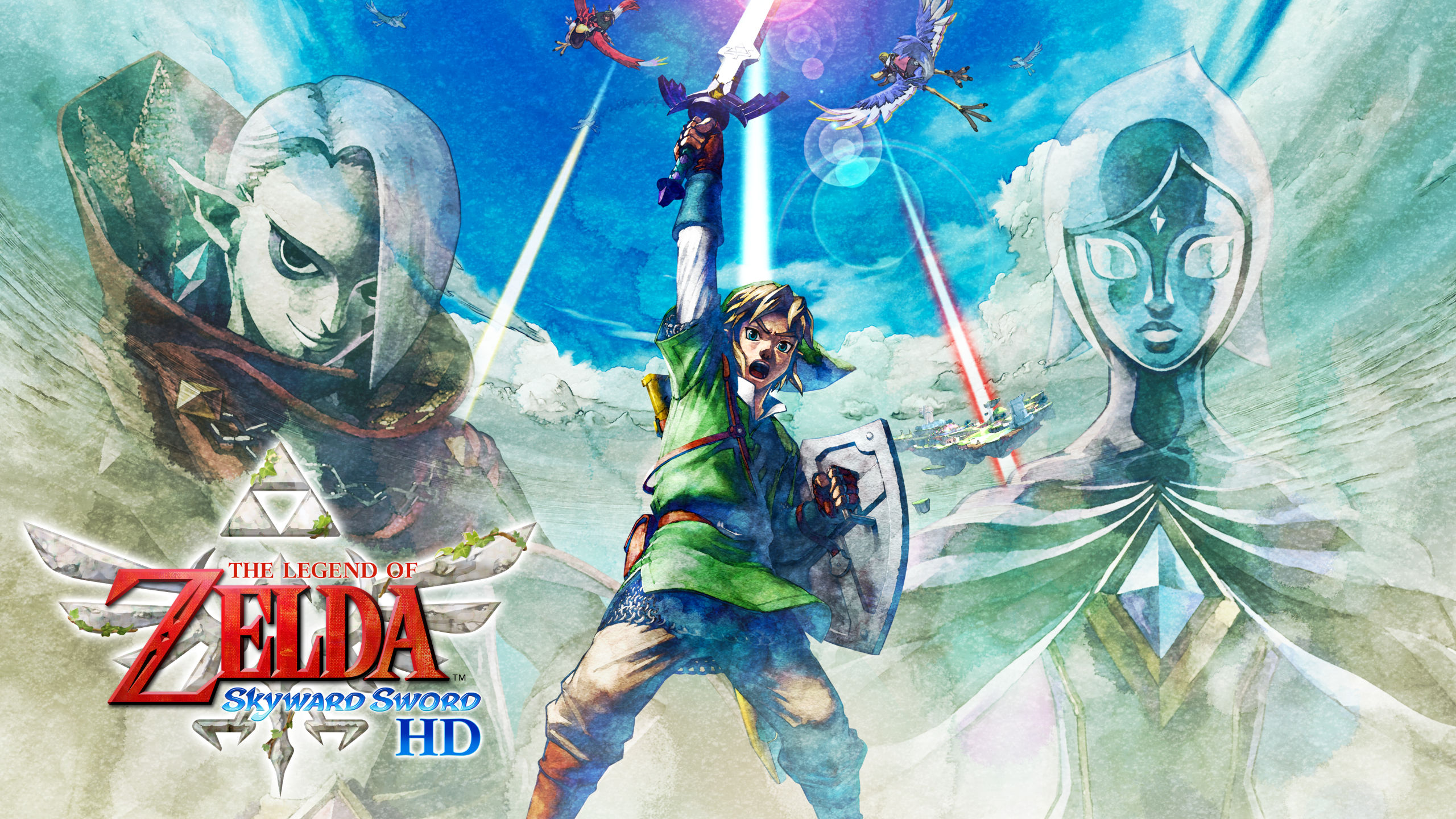 The Legend of Zelda: Skyward Sword HD Artwork with Link heroically raising his sword in the air against a bright cloudy sky.