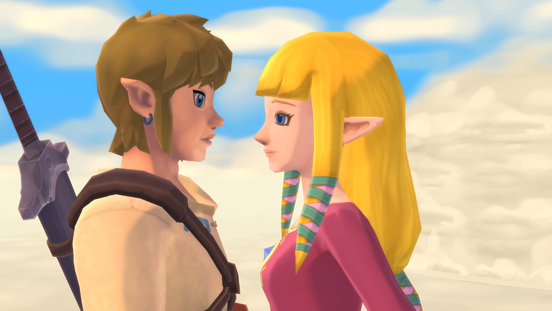 Skyward Sword HD Link and Zelda up close and personal