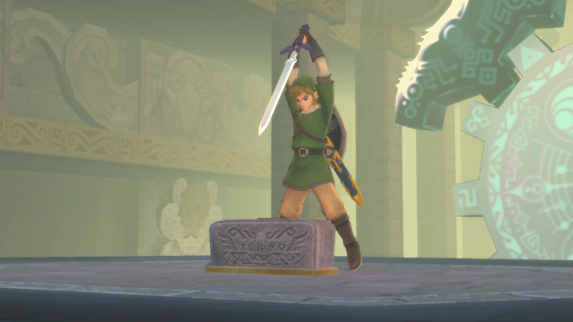 Link holding a sword