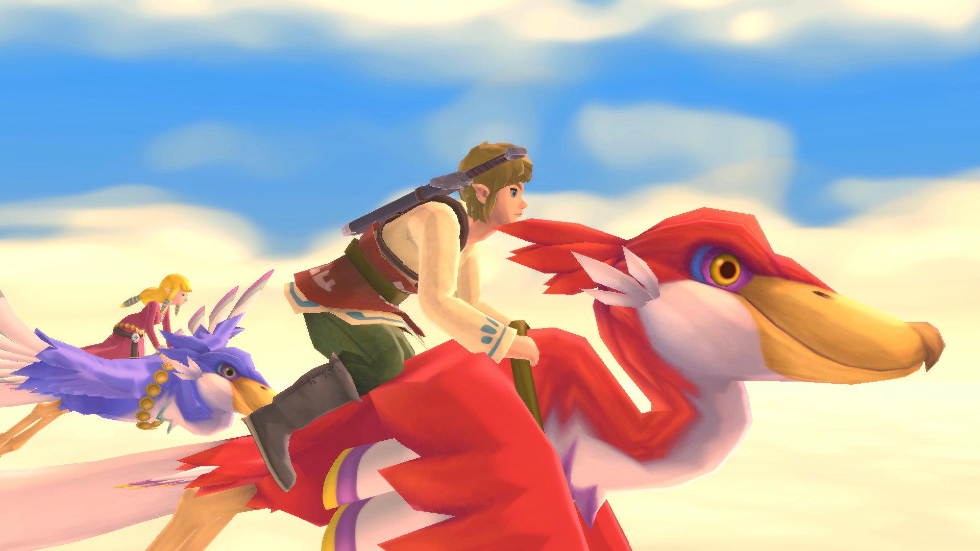 The Legend of Zelda Skyward Sword HD Screenshot of Link and Zelda riding Loftwings