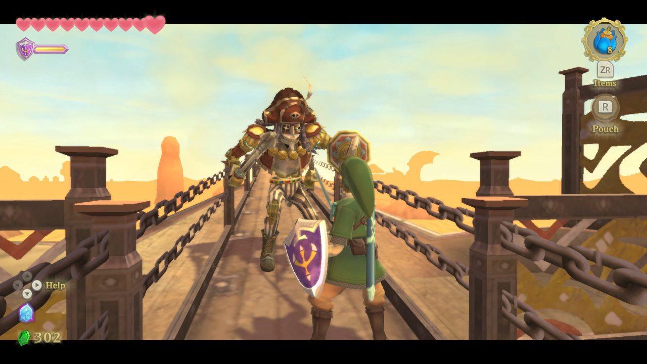 Link fights Headmaster Gaepora in The Legend of Zelda: Skyward Sword HD.