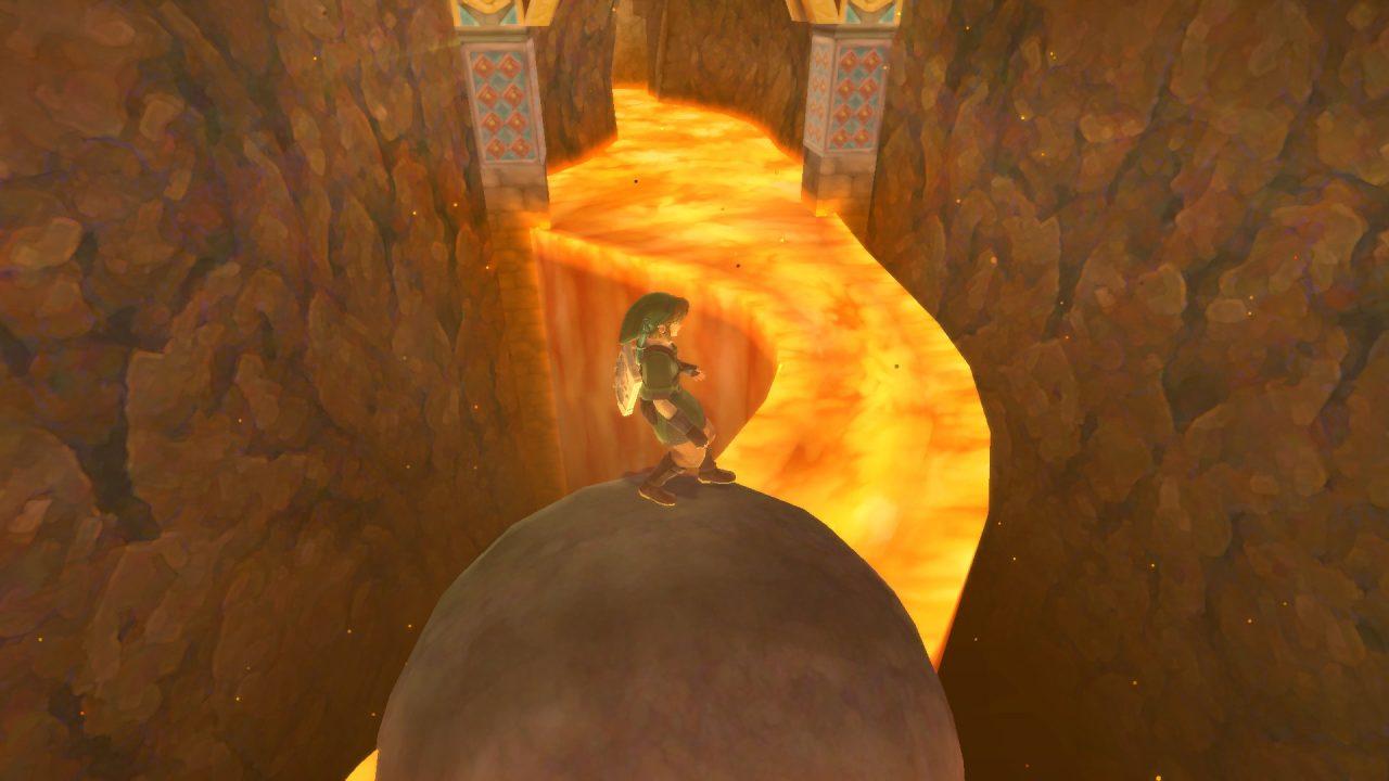 Rolling on a boulder through a lava river in The Legend of Zelda: Skyward Sword HD