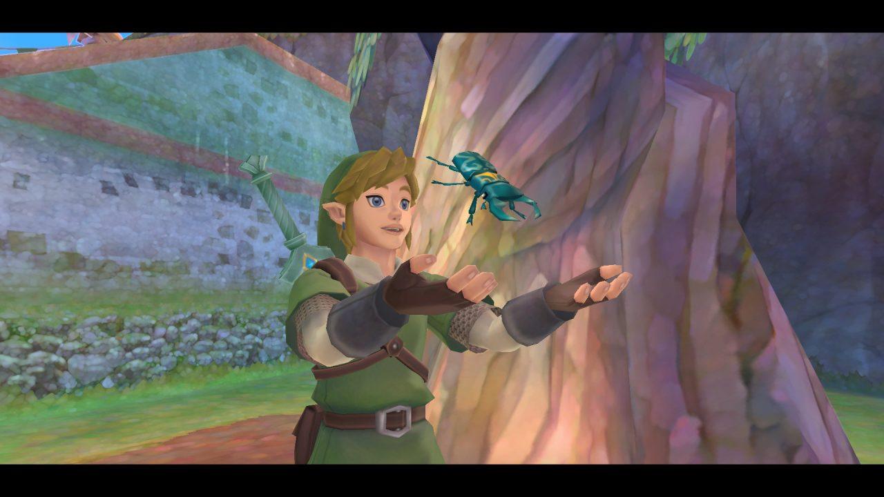 Link holds a bug up in The Legend of Zelda: Skyward Sword HD.