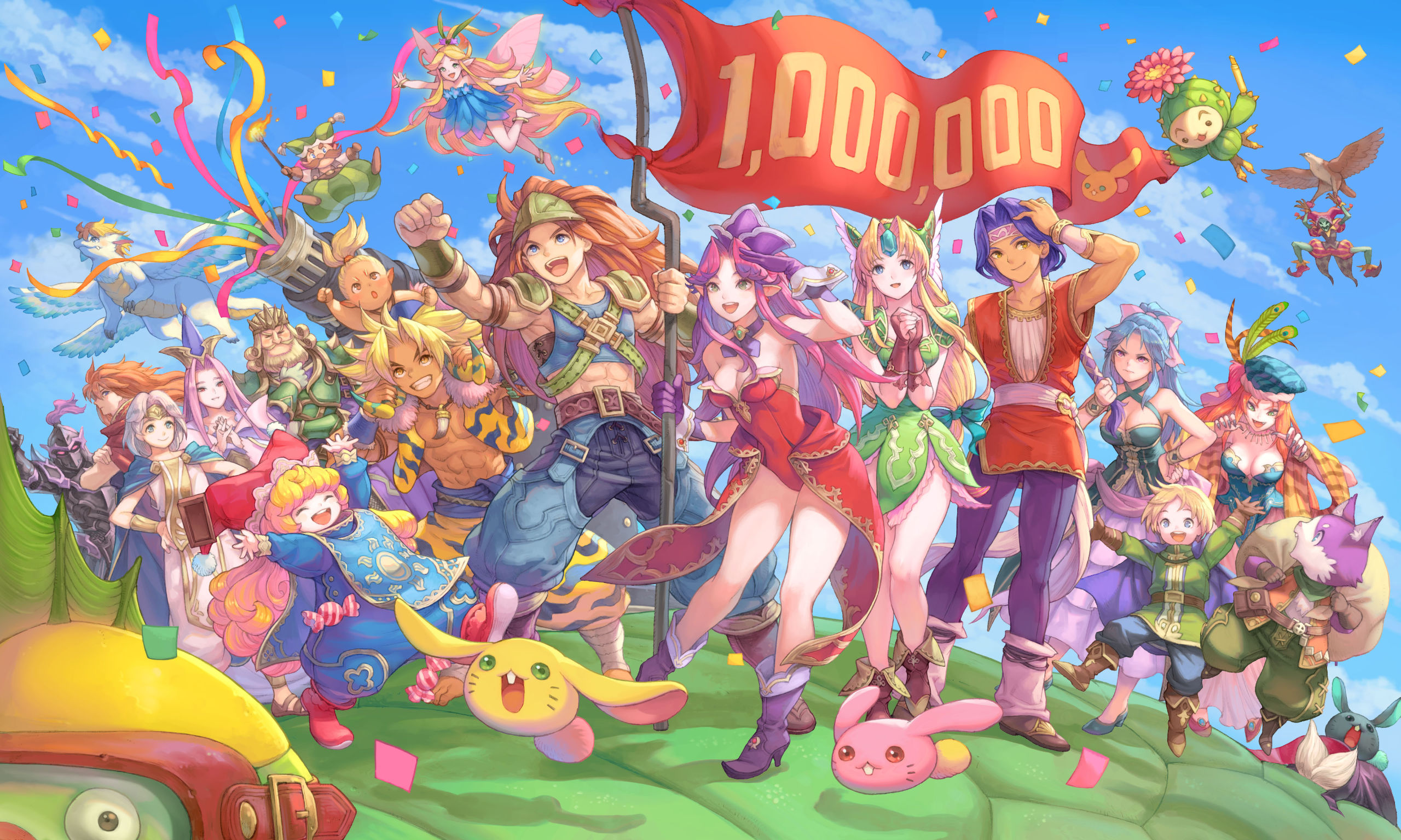 The full Trials of Mana cast including Duran and Angela holding a 1,000,000 banner.