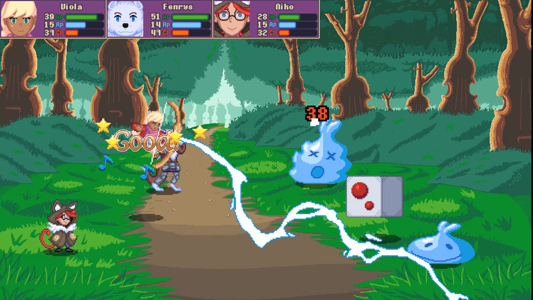 A character attacks an enemy with electricity.