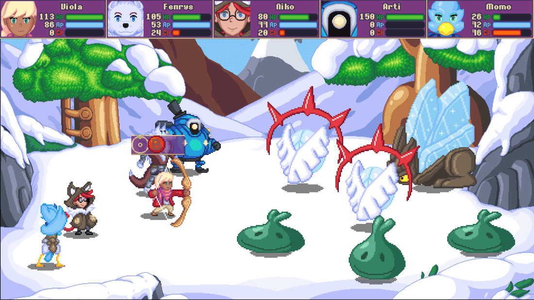 Viola: The Heroine's Melody Screenshot of a battle taking place in a snowy forest.