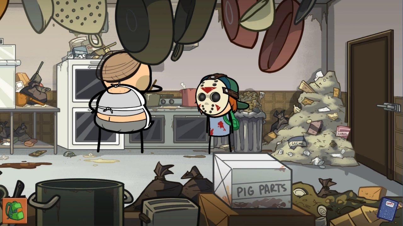 Character in a hockey mask stands in a VERY dirty kitchen.