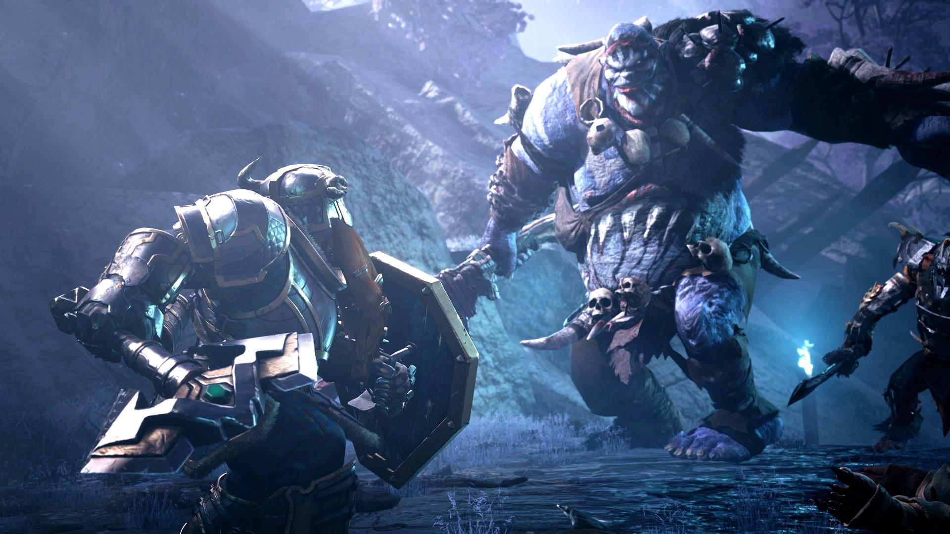 Dark Alliance Dwarf Fighting Ogre