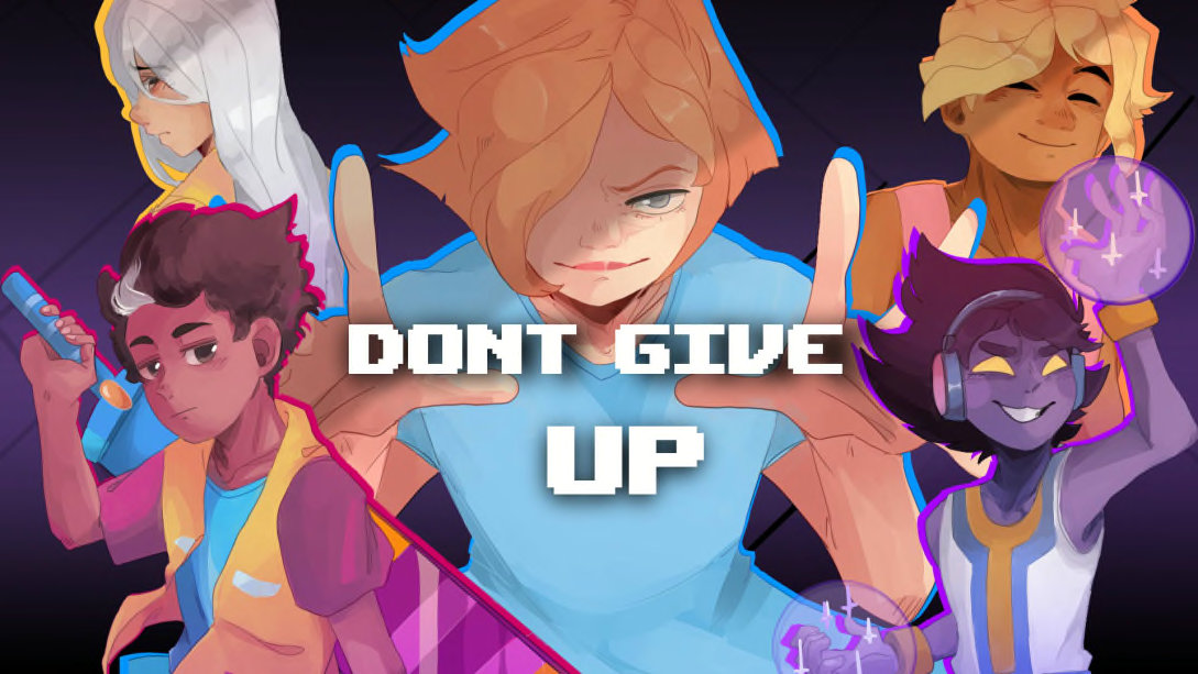 Don't Give Up artwork of five cast members