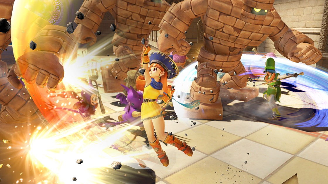 Screenshot of Dragon Quest Heroes featuring Alena and Kiryl fighting golems.