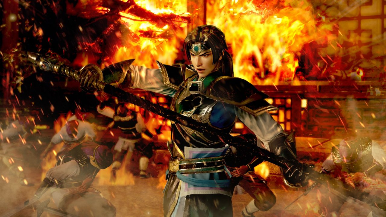 Screenshot of Dynasty Warriors 8 XL featuring Zhao Yun posing in front of a flaming building.
