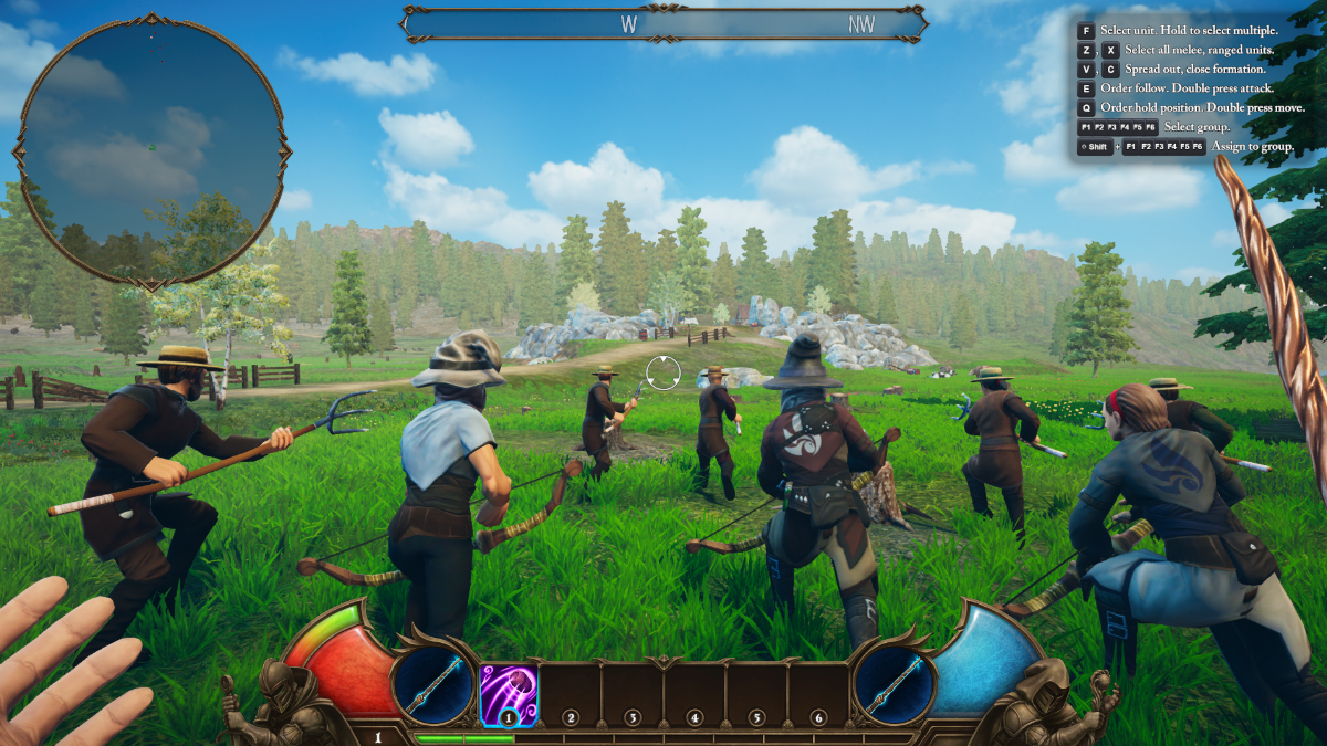 Joining a battle on a grassy field beneath clear, blue skies in Empire of Ember.