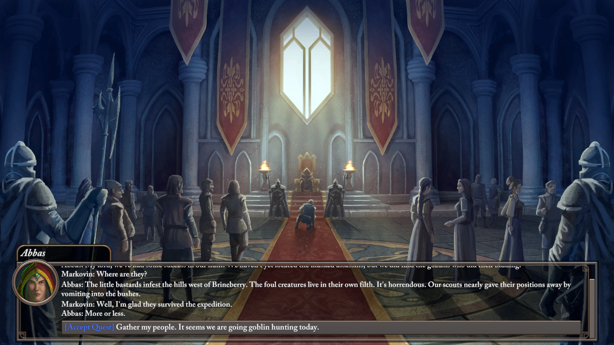 Characters are gathered in a castle keep as the story unfolds in Empire of Ember.